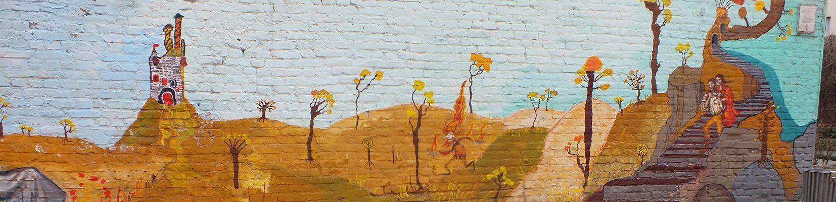 Hort Sonnenkids Hofgestaltung Mauer Zeichnung