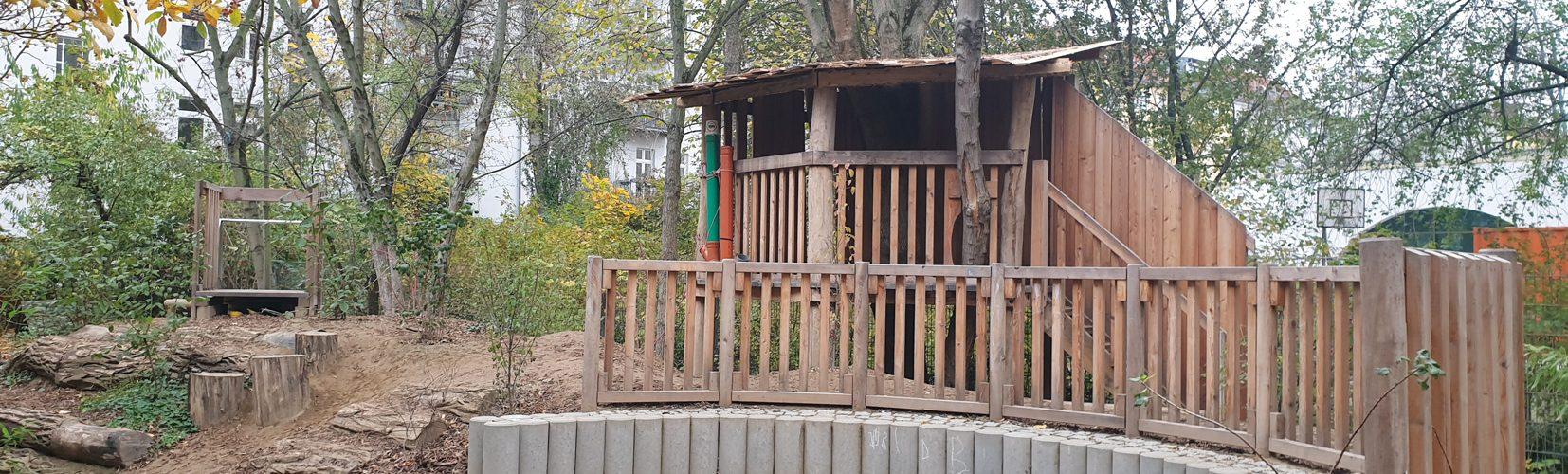 Kita Villa Kunterbunt Projekt Naturnaher Garten Holzhaus